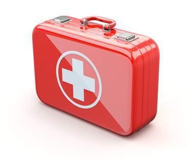 Ein roter Notfallkoffer für Unternehmen