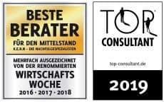 Screenshot der KERN Auszeichnungen beste Berater und Top Consultant 2019