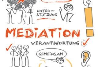 """Flipchart Scetch in grau und orange zur Erklärung von """"Mediation"""""""