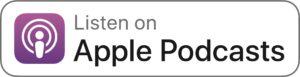 Przycisk wezwania do działania z fioletowym logo Apple Podcast i napisem Listen On