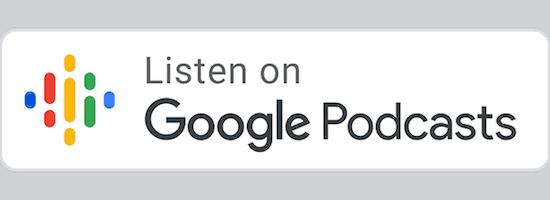 Biały przycisk CTA z kolorowym logo Google Podcasts i napisem Listen On