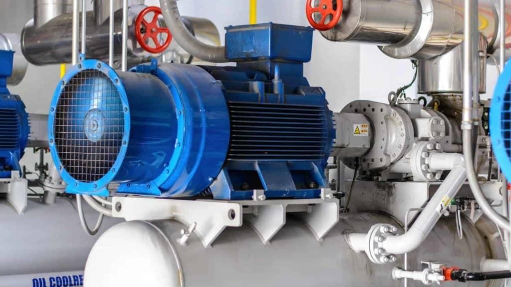 Bild einer blauen Kompressoranlage