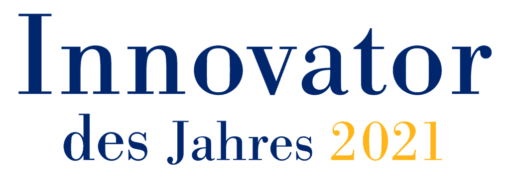 Logo Innovator of the Year 2021 in blue and yellow